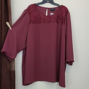 NWT 3/4 slv lace detailed burgandy blouse top
